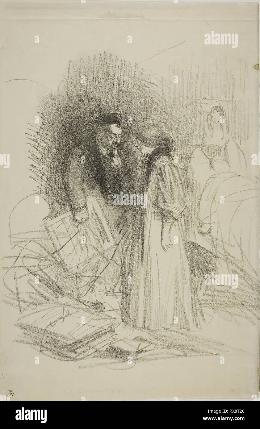 'I don't dare take them down yet...it would hurt him too much'. Jean Louis Forain; French, 1852-1931. Date: 1887-1897. Dimensions: 332 × 285 mm (image); 397 × 258 mm (sheet). Lithograph on ivory vellum paper. Origin: France. Museum: The Chicago Art Institute. - Stock Image