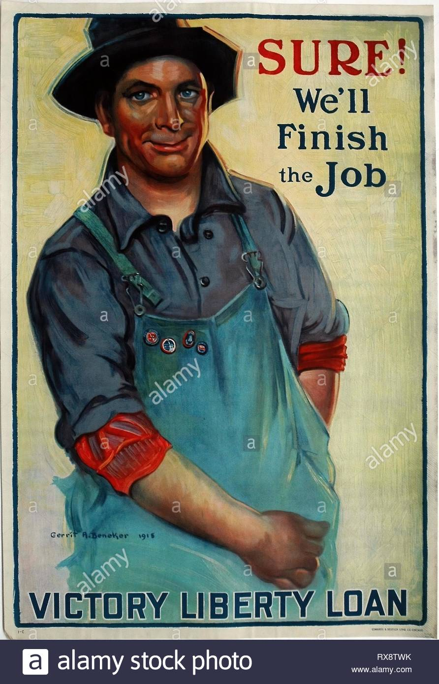 Sure! We'll Finish the Job. Gerrit Albertus Beneker (American, 1882-1934); printed by Edwards & Deutsch Litho. Co. Date: 1918. Dimensions: 959 x 655 mm (sheet). Color lithograph on cream wove paper, laid down on linen. Origin: United States. Museum: The Chicago Art Institute. - Stock Image