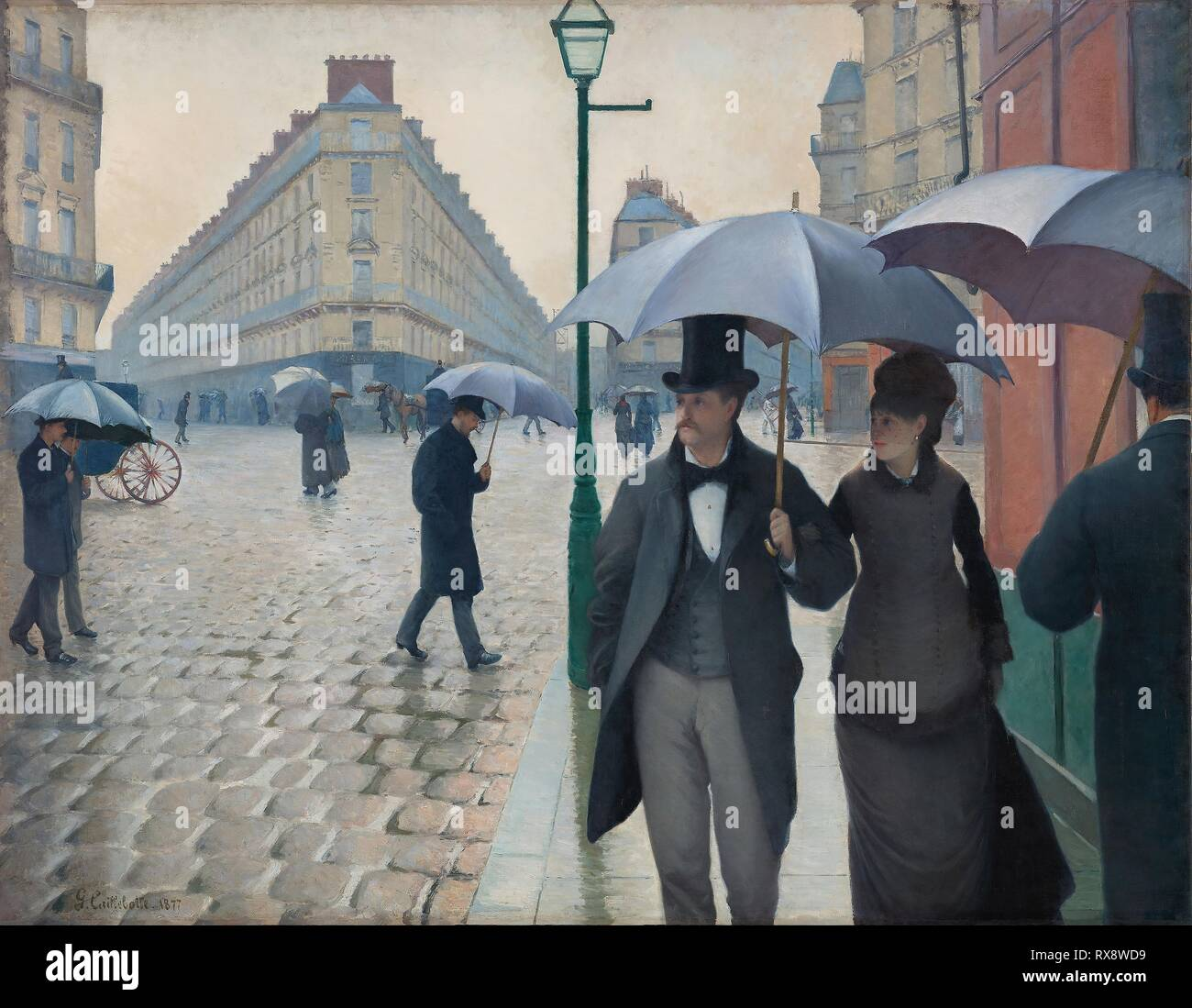 Paris Street; Rainy Day. Gustave Caillebotte; (French, 1848-1894). Date: 1877. Dimensions: 212.2 × 276.2 cm (83 1/2 × 108 3/4 in.). Oil on canvas. Origin: Paris. Museum: The Chicago Art Institute. - Stock Image
