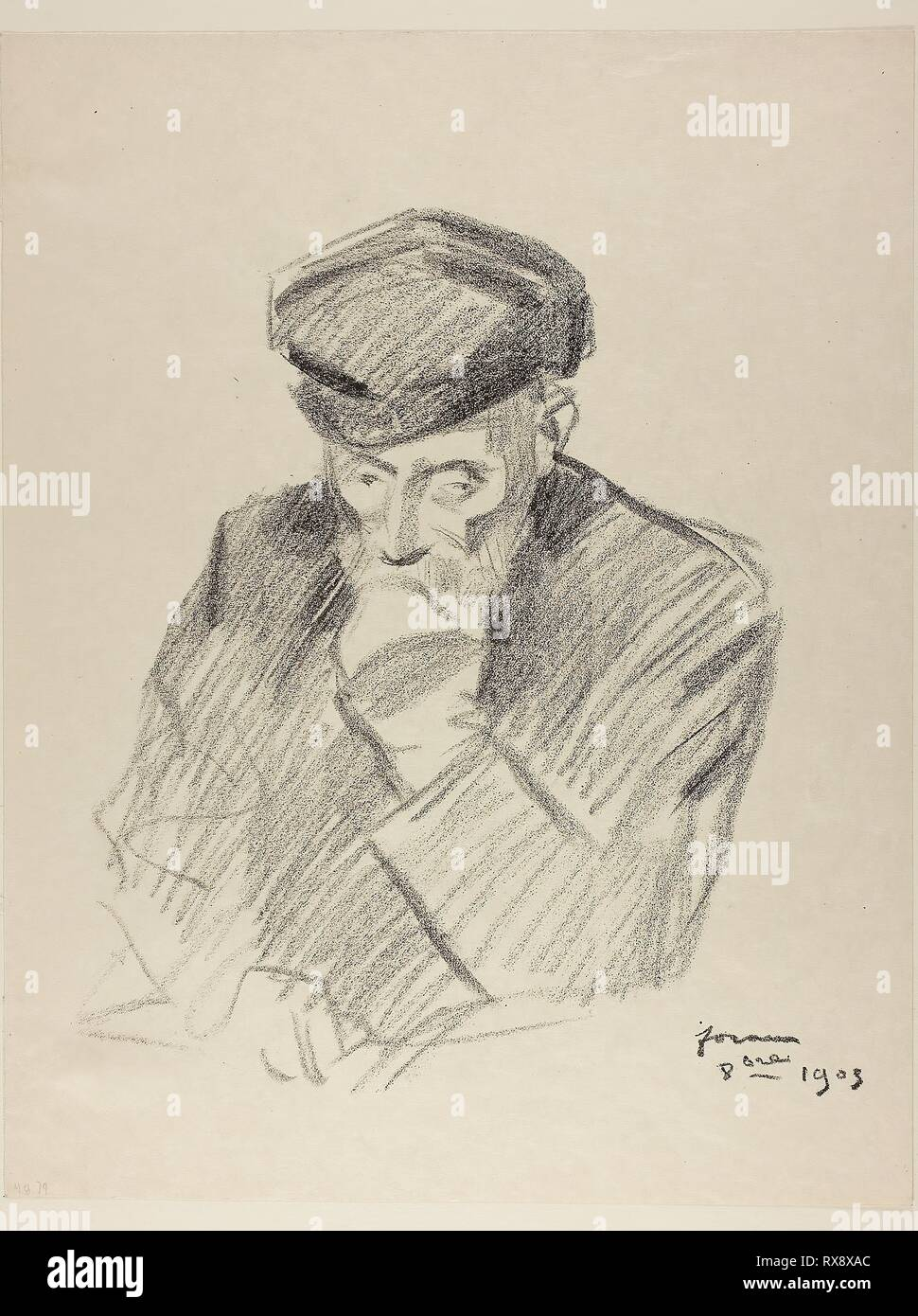 Portrait of Renoir, Fourth Plate. Jean Louis Forain; French, 1852-1931. Date: 1905. Dimensions: 267 × 219 mm (image); 351 × 273 mm (sheet). Lithograph on cream Japanese paper. Origin: France. Museum: The Chicago Art Institute. - Stock Image