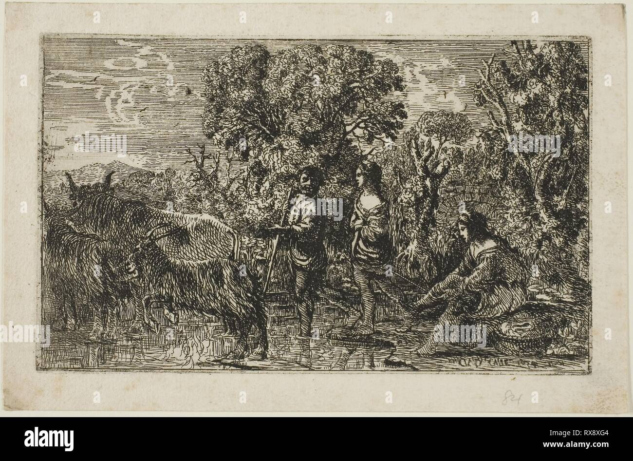 The Ford. Claude Lorrain; French, 1600-1682. Date: 1634. Dimensions: 105 × 172 mm (image/plate); 126 × 194 mm (sheet). Etching on ivory laid paper. Origin: France. Museum: The Chicago Art Institute. - Stock Image
