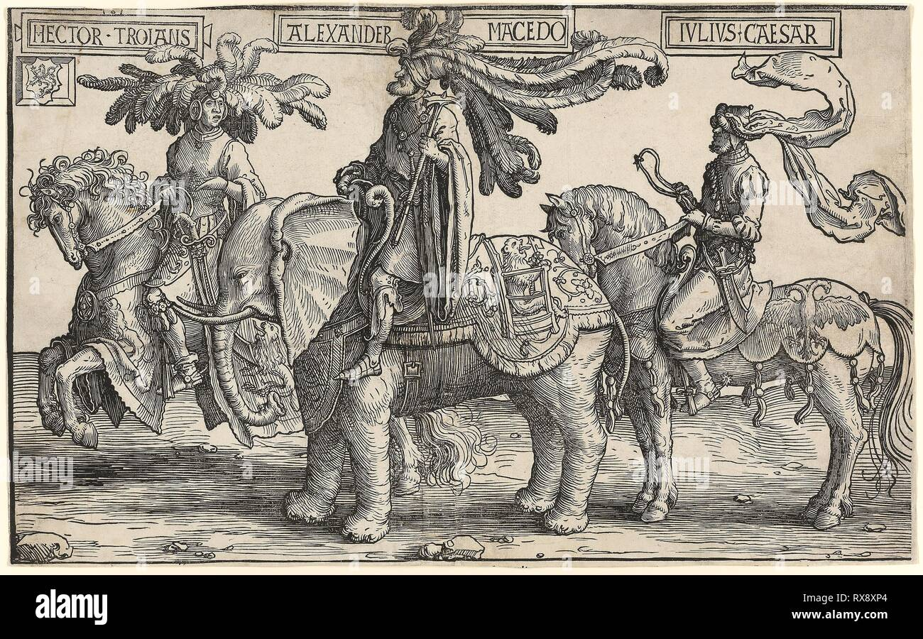 Hector of Troy, Alexander of Macedon, Julius Caesar, from The Nine Heroes. Lucas van Leyden; Netherlandish, c. 1494-1533. Date: 1515-1525. Dimensions: 315 x 512 mm (sheets). Woodcut in black on two sheets of laid paper joined vertically in the center. Origin: Netherlands. Museum: The Chicago Art Institute. Stock Photo