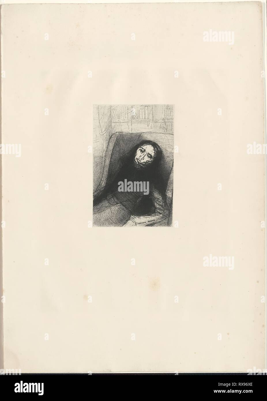 Des Esseintes. Odilon Redon (French, 1840-1916); written by Joris-Karl Huysmans (French, 1848-1907). Date: 1888. Dimensions: 149 × 96 mm (image); 280 × 374 mm (sheet). Lithograph on chine laid down on cream wove paper. Origin: France. Museum: The Chicago Art Institute. Stock Photo