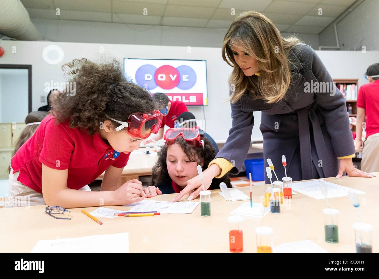 U.S First Lady Melania Trump joins students in science activities in Kelley Flemmings 6th grade class, during a visit to the Dove School of Discovery Elementary School March 4, 2019 in Tulsa, Oklahoma. Stock Photo