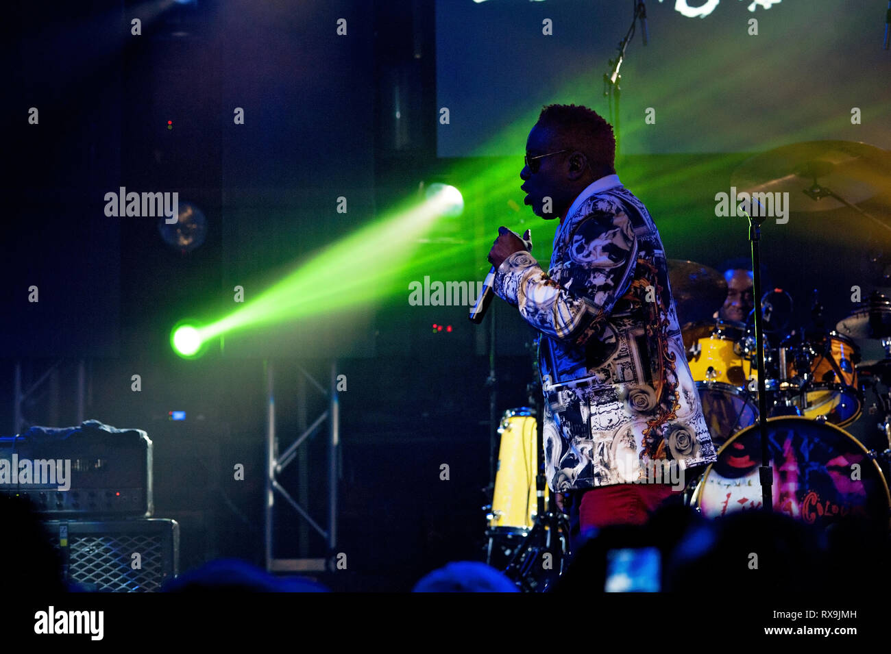 Corey Glover, vocalist for the band, 'Living Colour' performing for a show held at the Culture Room in Ft. Lauderdale, Florida on October 27, 2017. - Stock Image