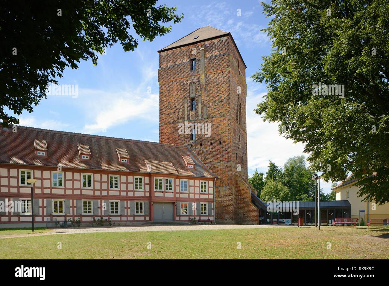Amtsturm, Alte Bischofsburg, Museum of Thirty Years War, Dreißigjähriger Krieg, Ostprignitzmuseum, Wittstock an der Dosse, Brandenburg, Deutschland - Stock Image