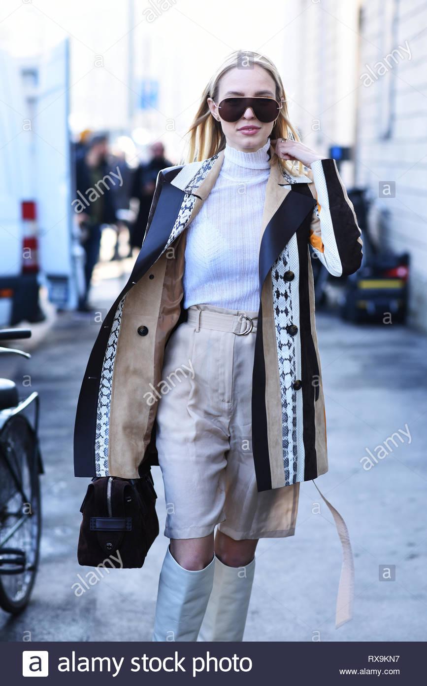 Leonie Hanne outside Tod's fashion show. Milan fashion week fall winter 2019 - Stock Image