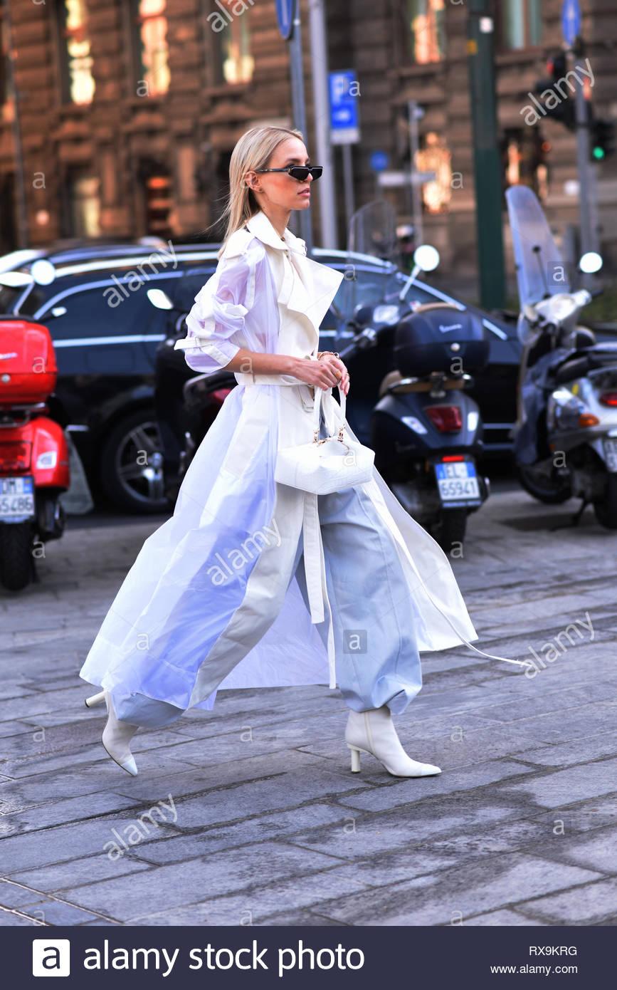 Leonie Hanne, german fashion influencer and model, outside Alberta Ferretti fashion show. Milan fashion week fall winter 2019 - Stock Image