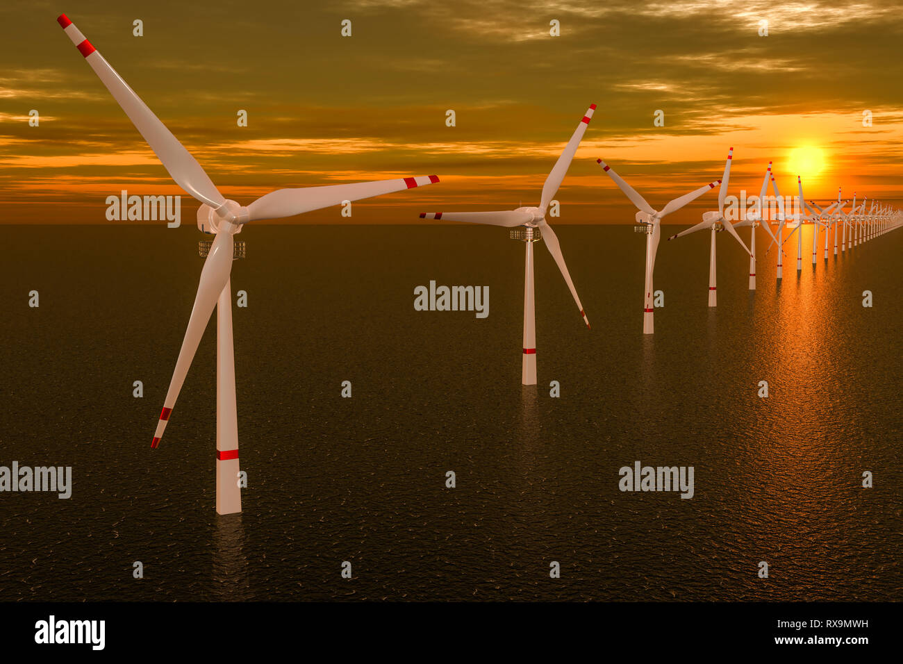 Wind farm, set of wind turbines in sea during sunset  3D