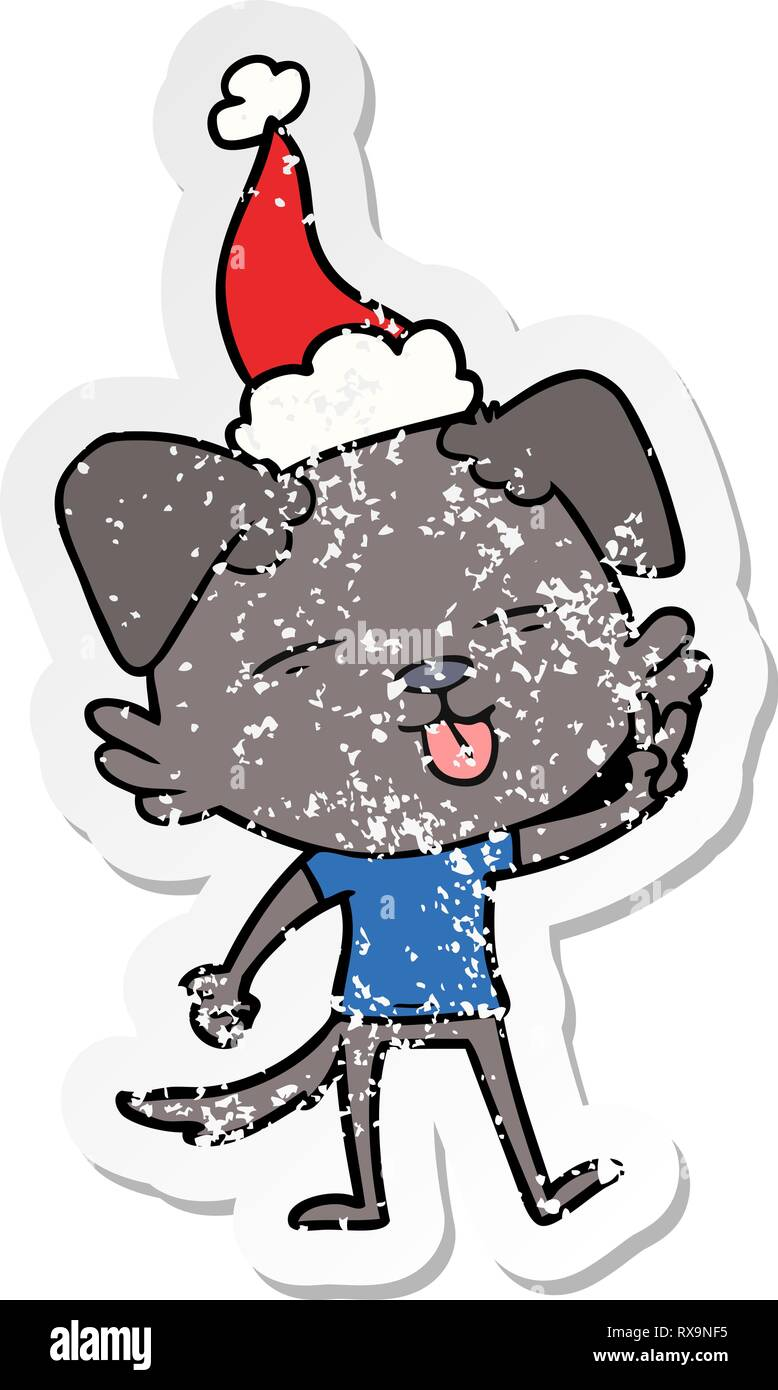 hand drawn distressed sticker cartoon of a dog sticking out tongue wearing santa hat - Stock Vector