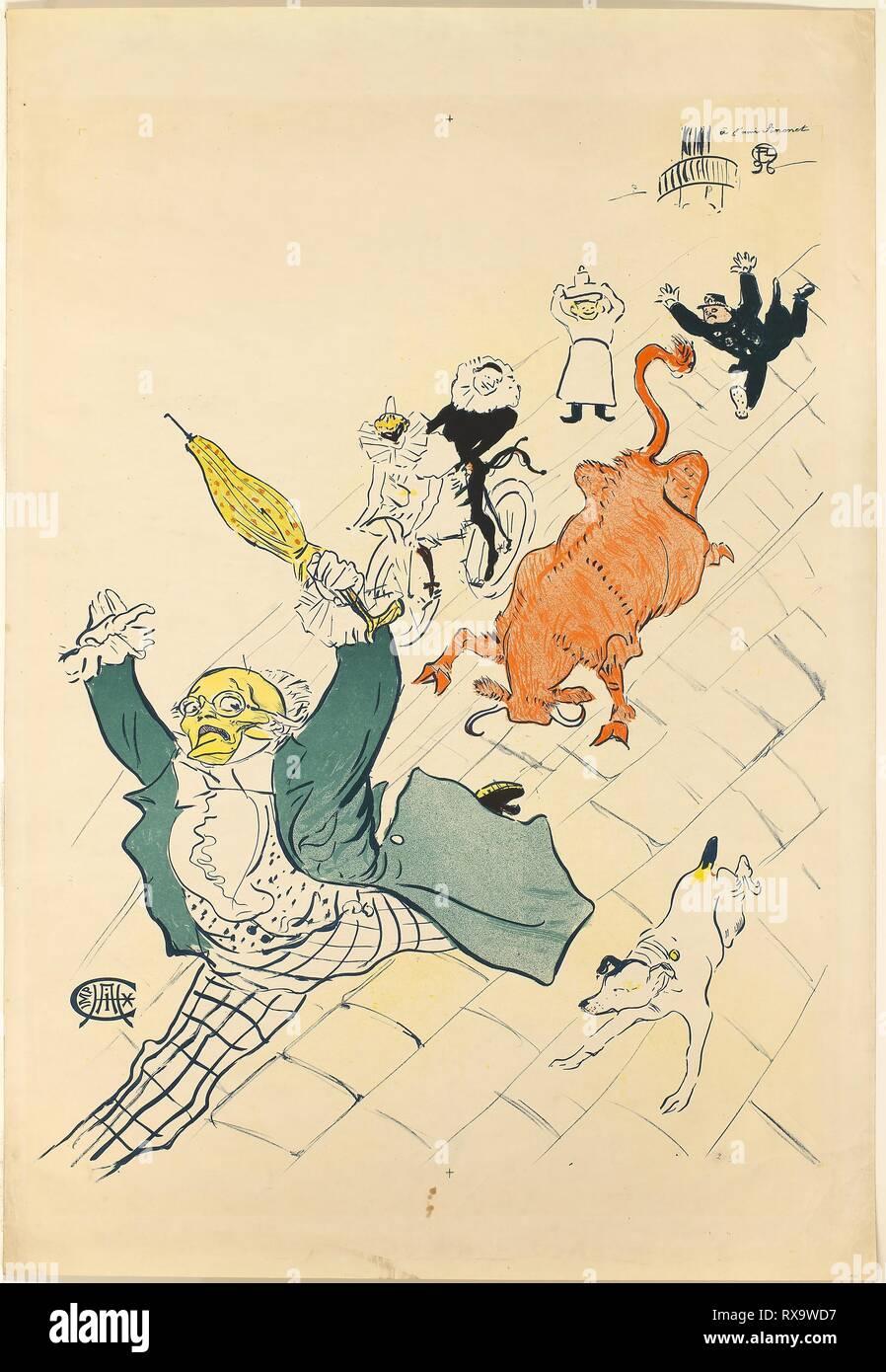 La vache enragée. Henri de Toulouse-Lautrec; French, 1864-1901. Date: 1896. Dimensions: 798 × 598 mm (image); 950 × 652 mm (sheet). Color lithograph poster on cream wove paper. Origin: France. Museum: The Chicago Art Institute. Stock Photo