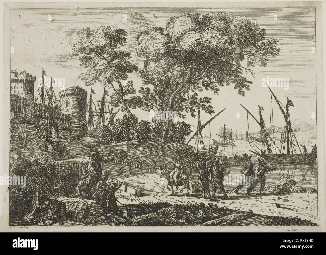 Coast Scene with an Artist Drawing. Claude Lorrain; French, 1600-1682. Date: 1638-1641. Dimensions: 126 × 176 mm (image); 132 × 185 mm (sheet, cut within platemark). Etching on ivory laid paper. Origin: France. Museum: The Chicago Art Institute. - Stock Image