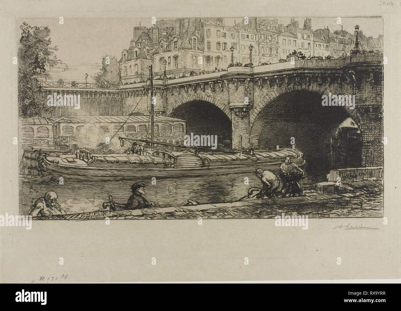 The Pont-Neuf. Louis Auguste Lepère; French, 1849-1918. Date: 1901. Dimensions: 172 × 310 mm (image); 209 × 320 mm (plate); 240 × 341 mm (sheet). Etching on cream wove paper. Origin: France. Museum: The Chicago Art Institute. Stock Photo