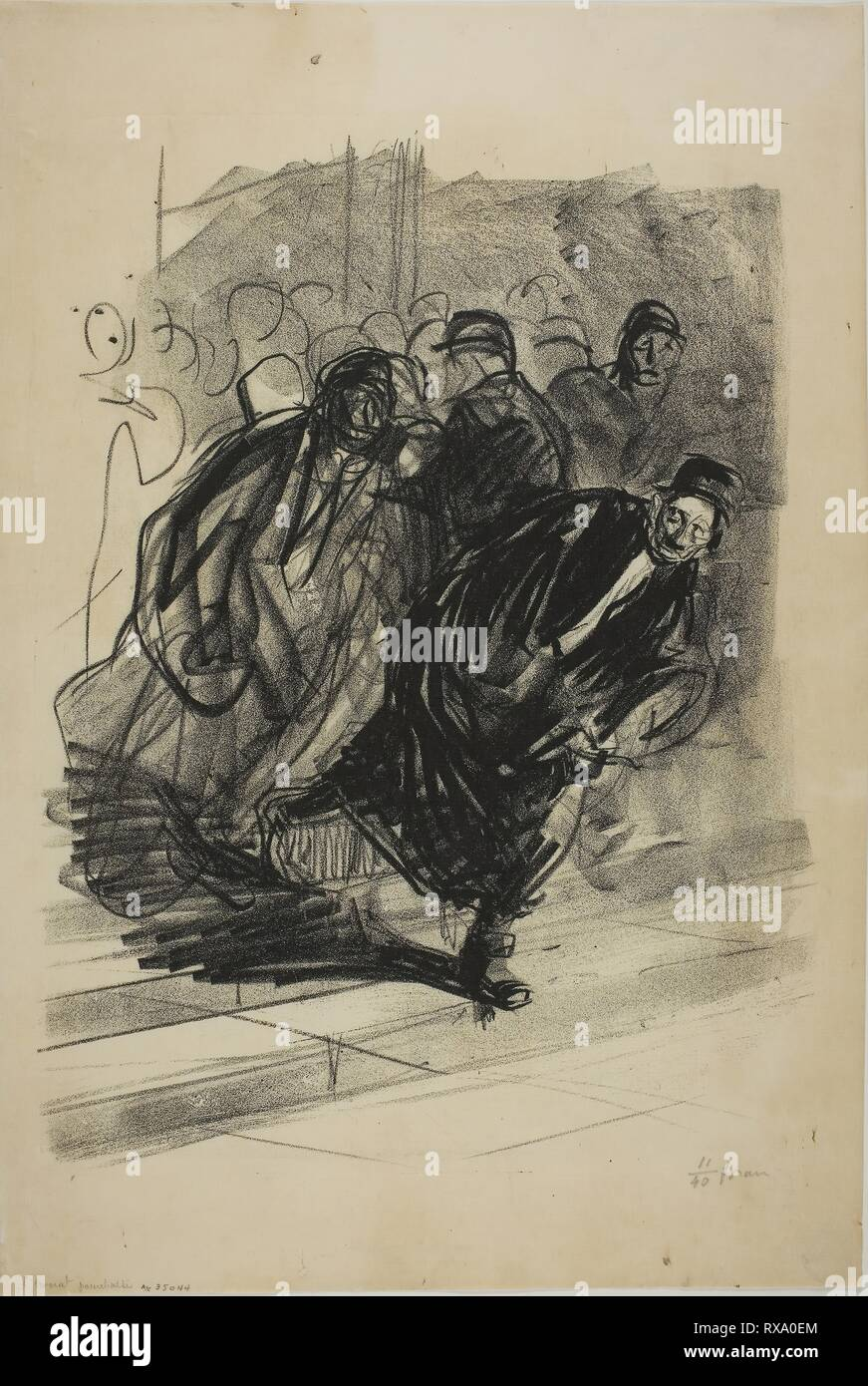 The Lawyer Pursued. Jean Louis Forain; French, 1852-1931. Date: 1915. Dimensions: 415 × 315 mm (image); 521 × 350 mm (sheet). Lithograph on cream Japanese paper. Origin: France. Museum: The Chicago Art Institute. - Stock Image