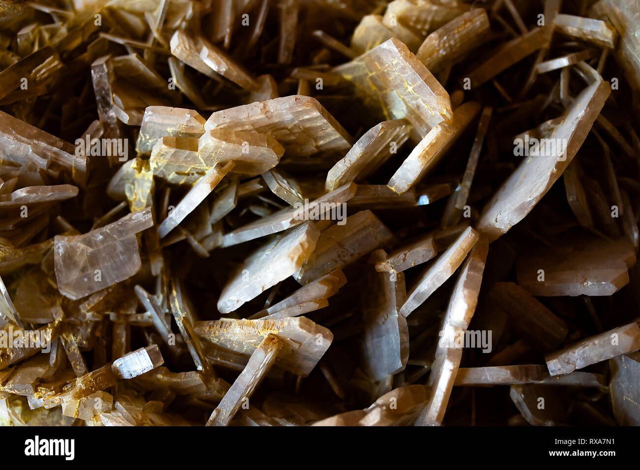 Close up of Baryte texture, a brown mineral found in Huanzala Peru. Crystal macro pattern. - Stock Image