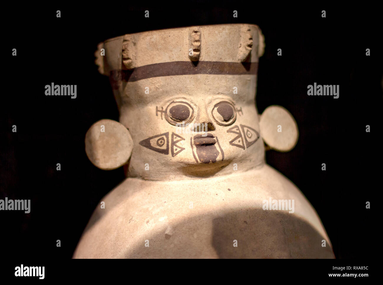 Precolombian ceramics called 'Huacos' from Chancay, a Peruvian culture. Private collection of pre inca pottery. - Stock Image