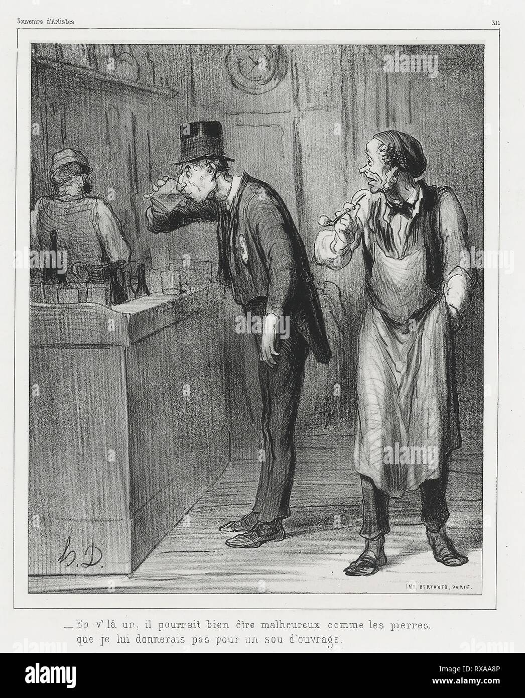 """""""- This one may look as unhappy as a rock, before I would give him a job"""". Honoré Victorin Daumier; French, 1808-1879. Date: 1862. Dimensions: 265 × 219 mm (image); 451 × 315 mm (sheet). Lithograph in black on ivory China paper, laid down on white wove paper (chine collé). Origin: France. Museum: The Chicago Art Institute. Author: Honoré-Victorin Daumier. Stock Photo"""