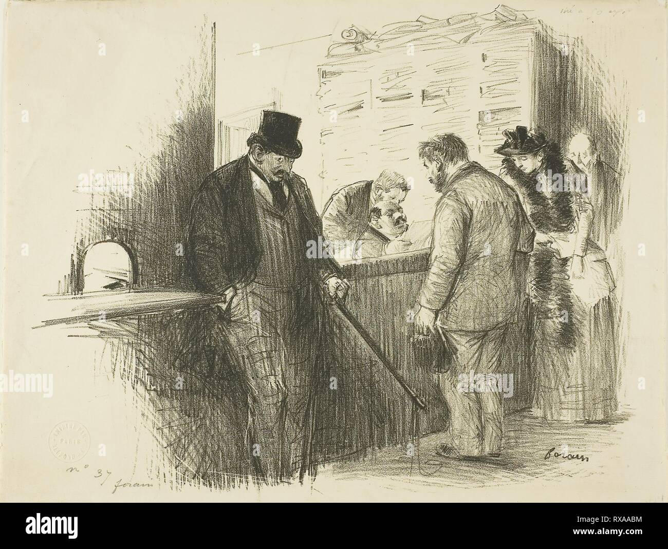 At the Bailiff's. Jean Louis Forain; French, 1852-1931. Date: 1886-1896. Dimensions: 205 × 257 mm (image); 217 × 284 mm (sheet). Lithograph on cream laid paper. Origin: France. Museum: The Chicago Art Institute. - Stock Image