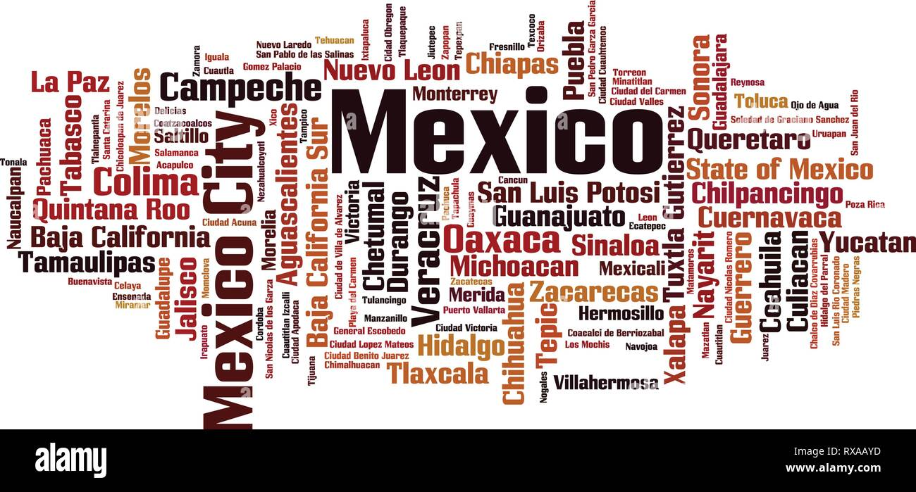 Cities in Mexico word cloud concept. Vector illustration Stock Vector