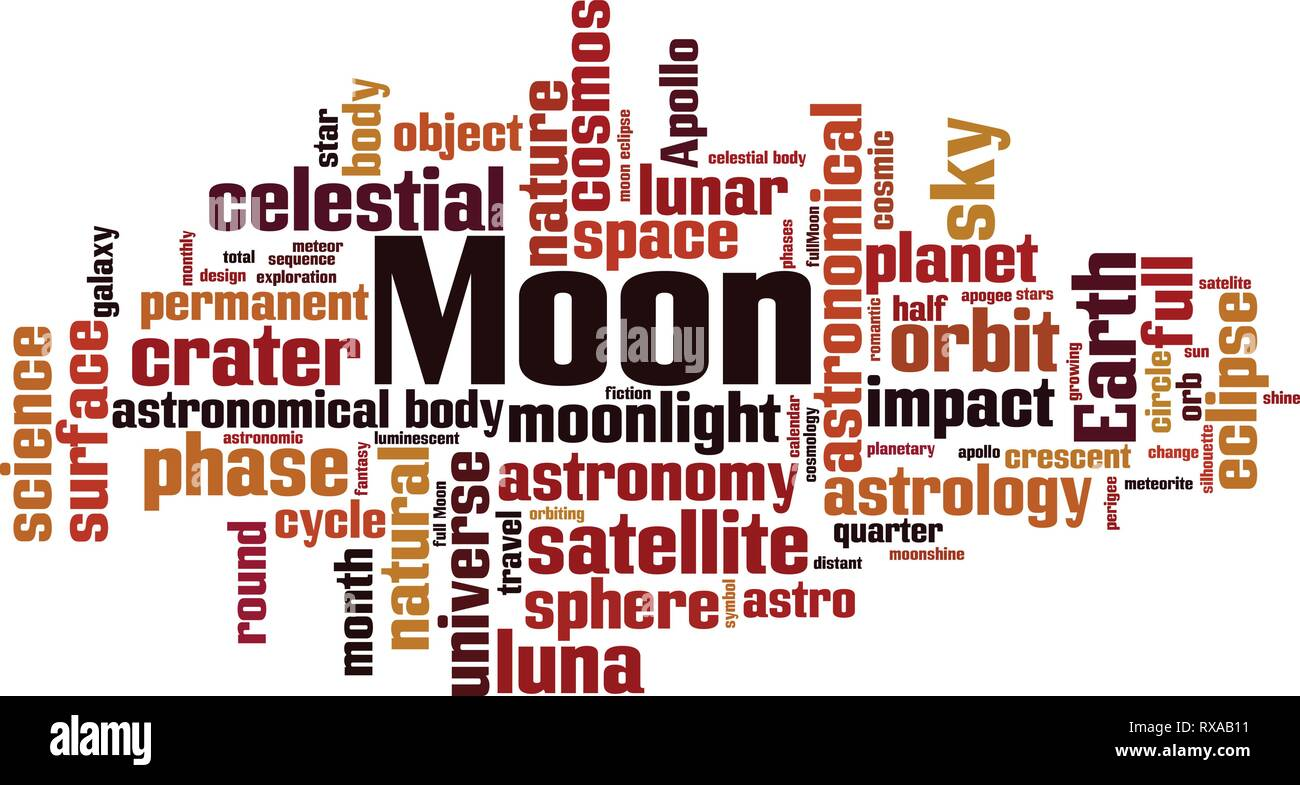 Moon word cloud concept. Vector illustration - Stock Vector