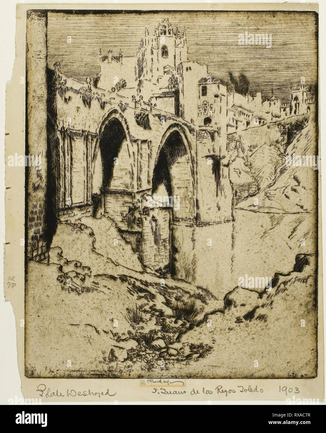 The Bridge of San Juan D'Los Reyos, Toldeo. Joseph Pennell; American, 1857-1926. Date: 1903-1904. Dimensions: 255 x 200 mm (plate); 274 x 210 mm (sheet). Etching on ivory wove paper. Origin: United States. Museum: The Chicago Art Institute. - Stock Image