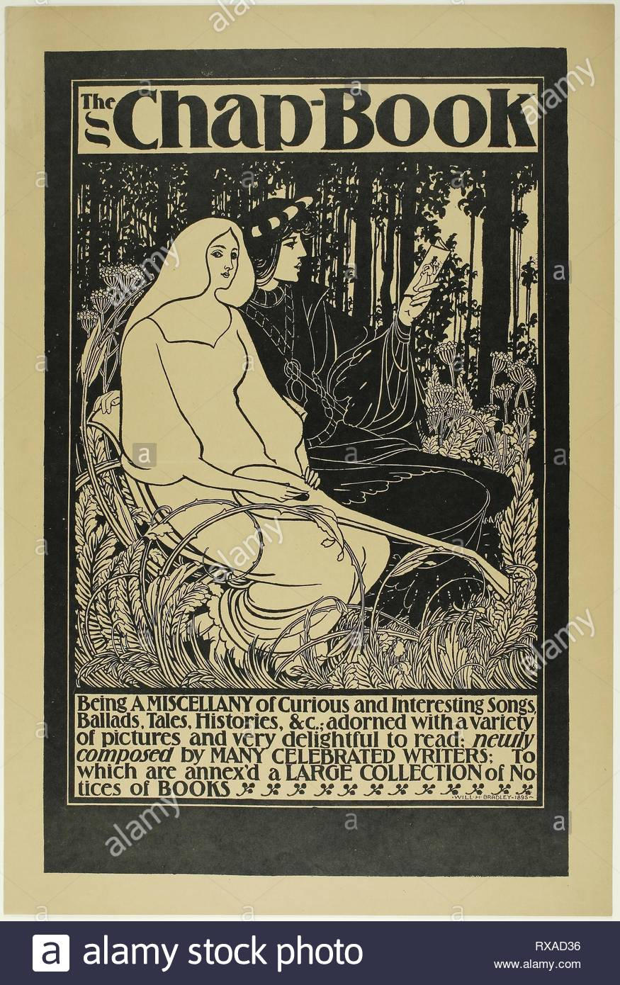 The Poet and his Lady. William H. Bradley; American, 1868-1962. Date: 1894-1895. Dimensions: 495 x 315 mm (image); 545 x 365 mm (sheet). Zincograph on paper. Origin: United States. Museum: The Chicago Art Institute. - Stock Image