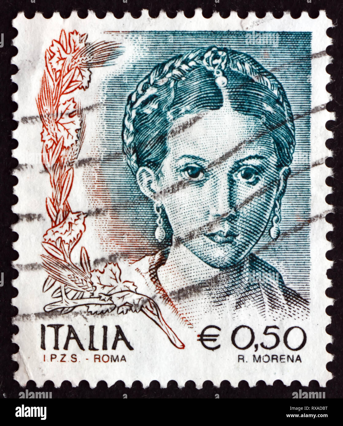 ITALY - CIRCA 2002: a stamp printed in the Italy shows Antea, Detail of Painting by Parmigianino, Painter and Printmaker, circa 2002 - Stock Image