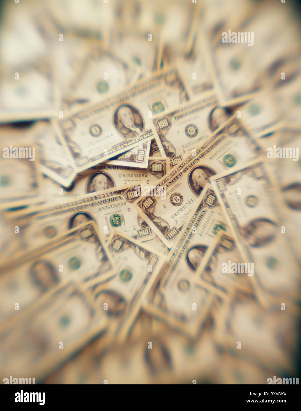 Money displayed on table as if looked through an addicts mind and hallucinating Stock Photo