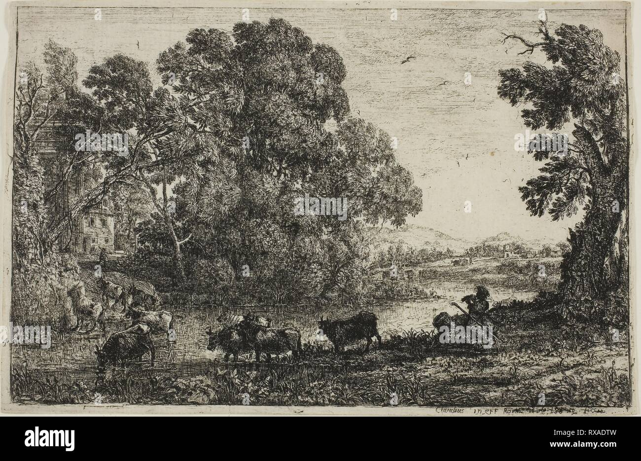 The Cowherd. Claude Lorrain; French, 1600-1682. Date: 1636. Dimensions: 126 × 195 mm (image); 131 × 201 mm (sheet, cut within platemark). Etching on ivory laid paper. Origin: France. Museum: The Chicago Art Institute. - Stock Image