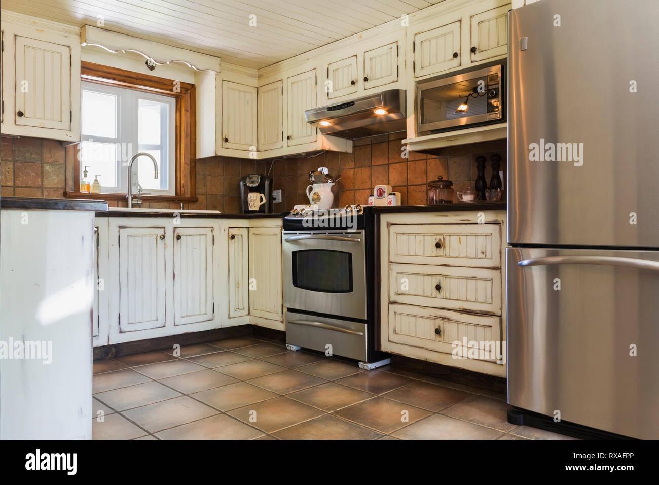 Cream Kitchen Cabinets Stock Photos & Cream Kitchen Cabinets ...