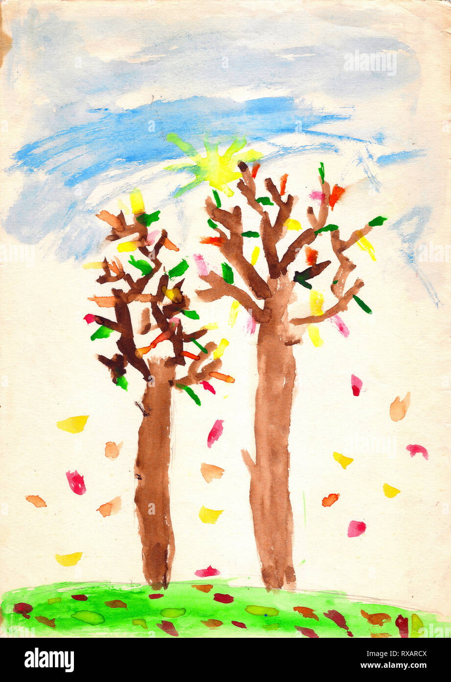 Child Drawing Autumn Tree High Resolution Stock Photography And Images Alamy