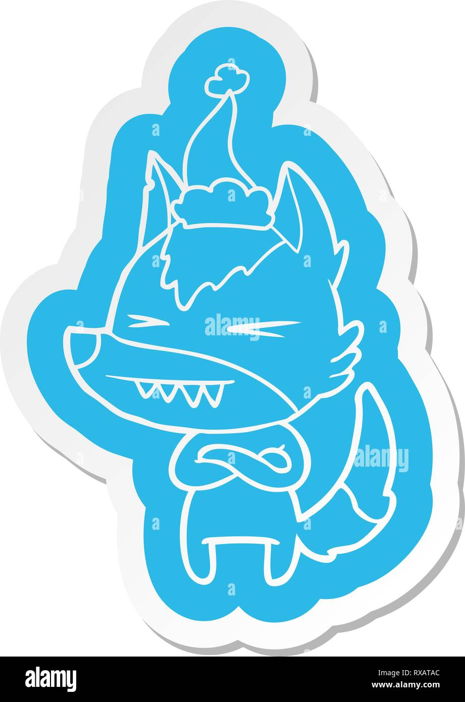 angry wolf quirky cartoon  sticker of a wearing santa hat - Stock Image