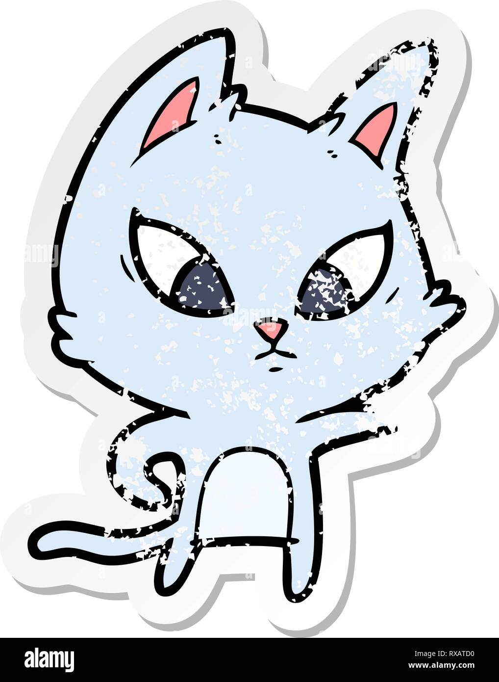 distressed sticker of a confused cartoon cat Stock Vector