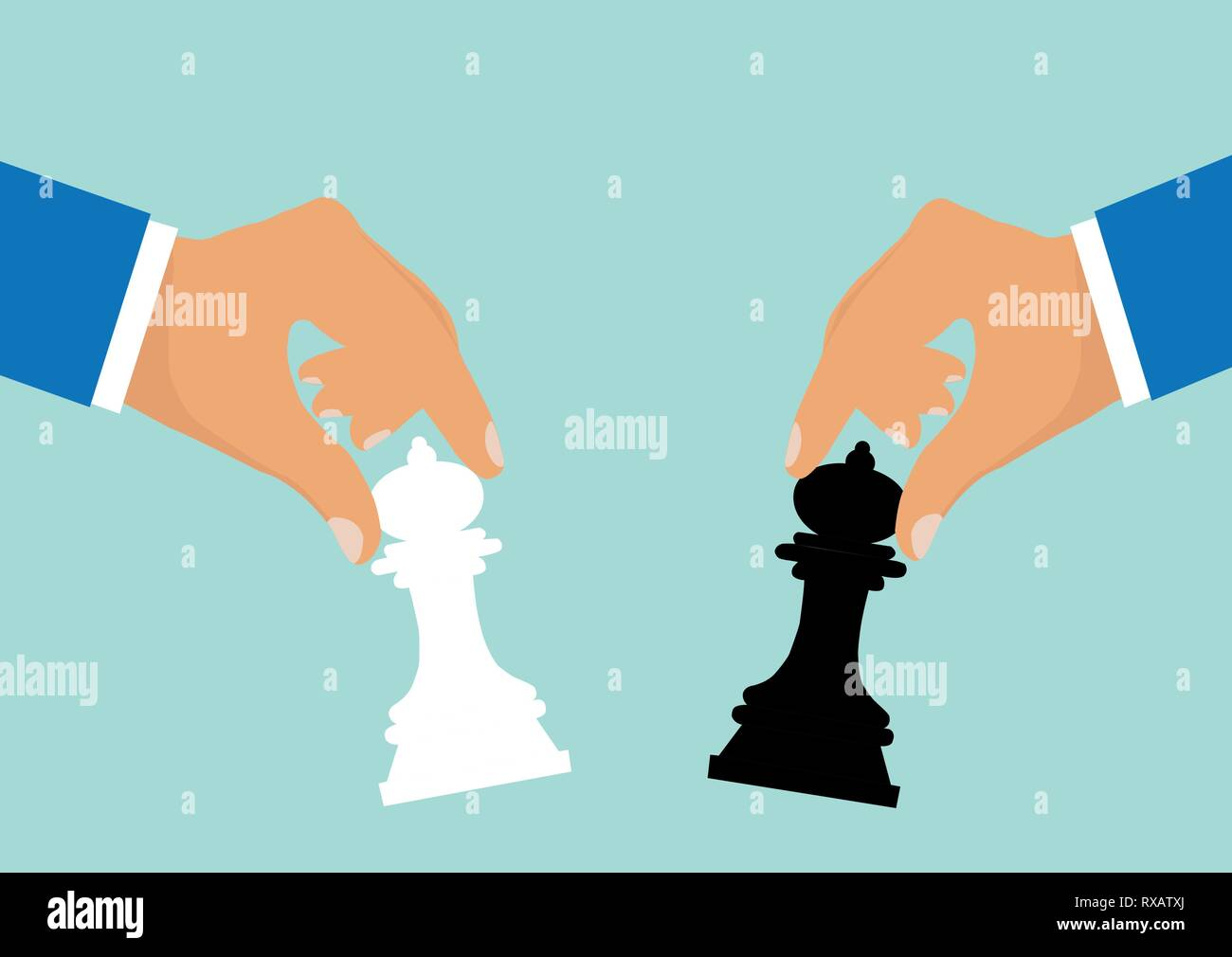 Concept of business strategy and competition. Vector of businessmen moving chess pieces as a symbol of rivalry corporate negotiation. - Stock Image