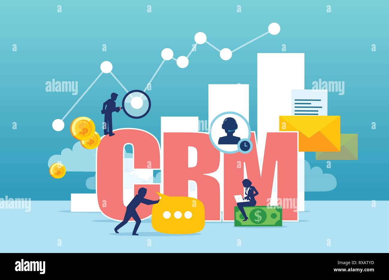 Vector concept for customer relationship management. Company interaction with customers and data analysis of sales. - Stock Image