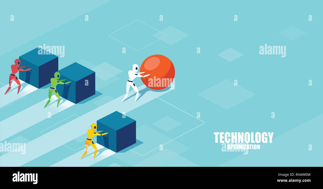 Vector of a smart modern robot pushing a sphere leading the race against a group of slower robots pushing boxes. Winning strategy in technology develo - Stock Vector