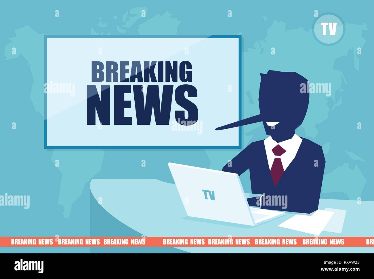 Fake and breaking news concept. Vector of a presenter with a long liar nose reporting false media information on television - Stock Vector