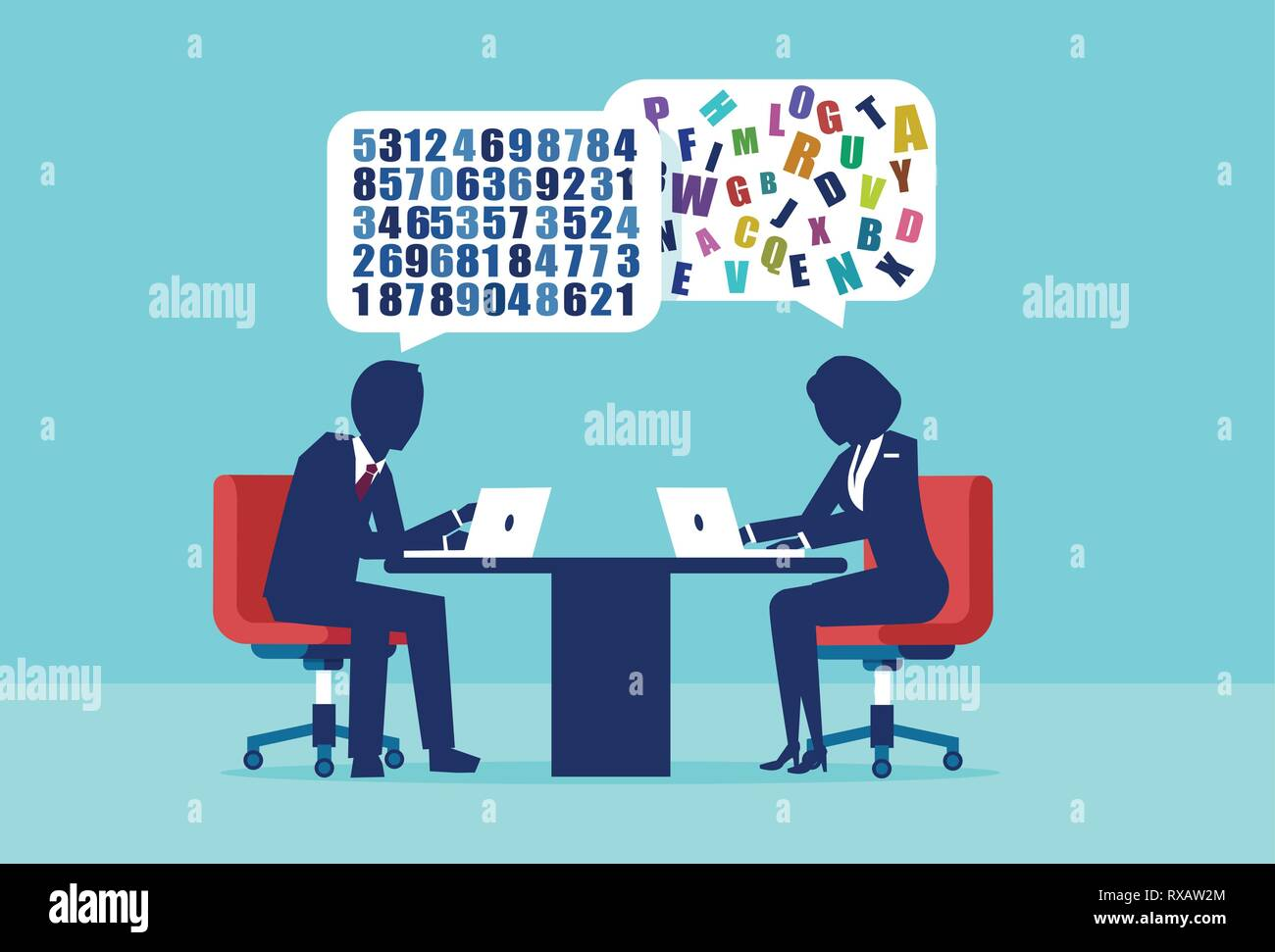 Difference distinction in man and woman mindset concept. Vector of a businessman and businesswoman having a different approach to problem solving - Stock Image