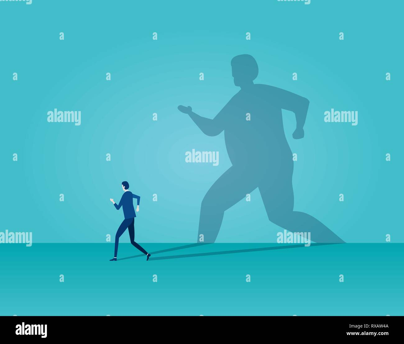 Vector of a business man running away being frightened by his own shadow on blue background Stock Vector
