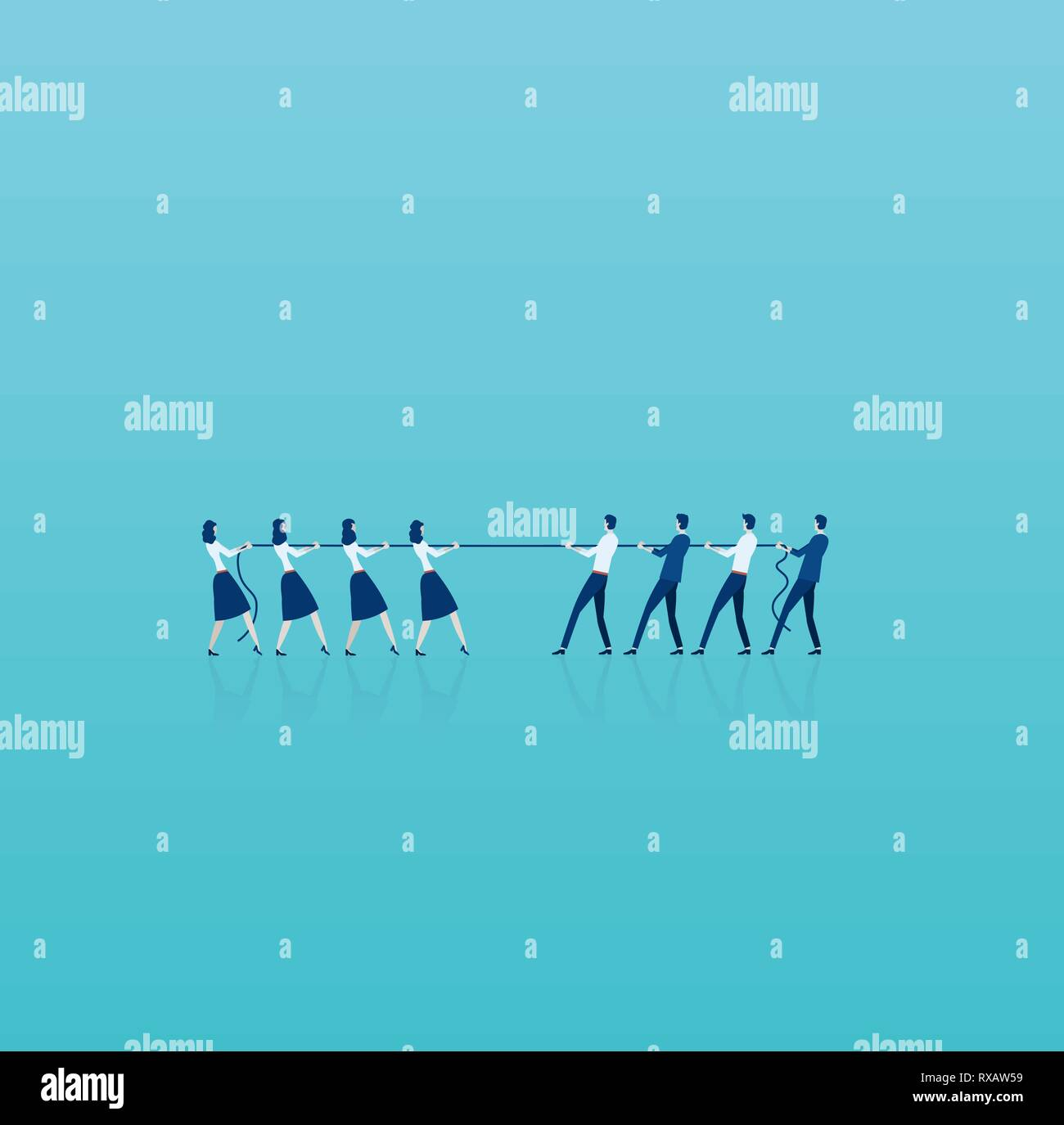 Vector of businesswomen in tug of war with a group of businessmen. Men vs women superiority concept Stock Vector