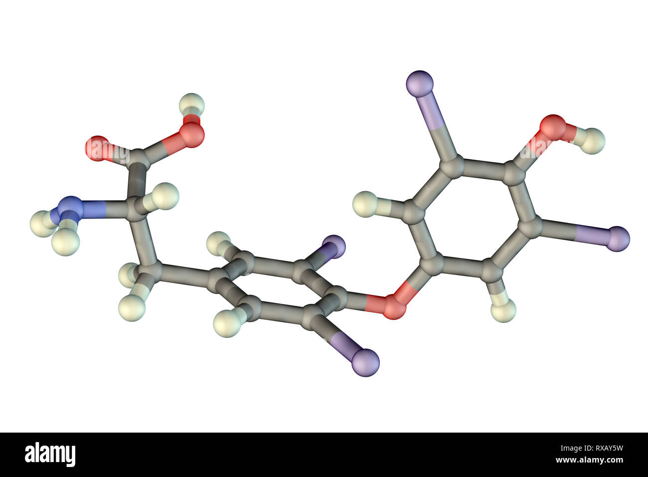 Thyroxine hormone, molecular model Stock Photo