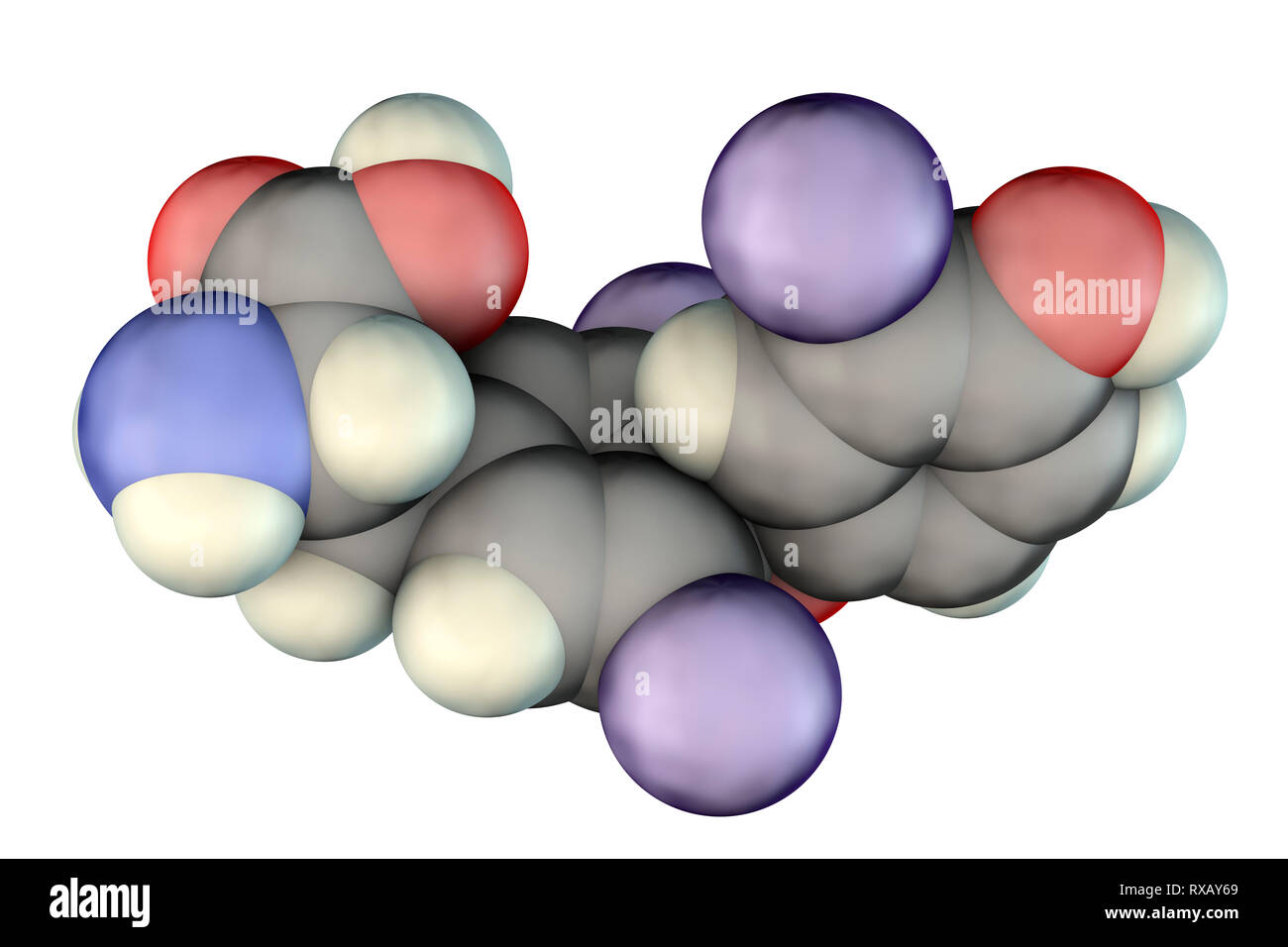 Triiodothyronine hormone, molecular model Stock Photo