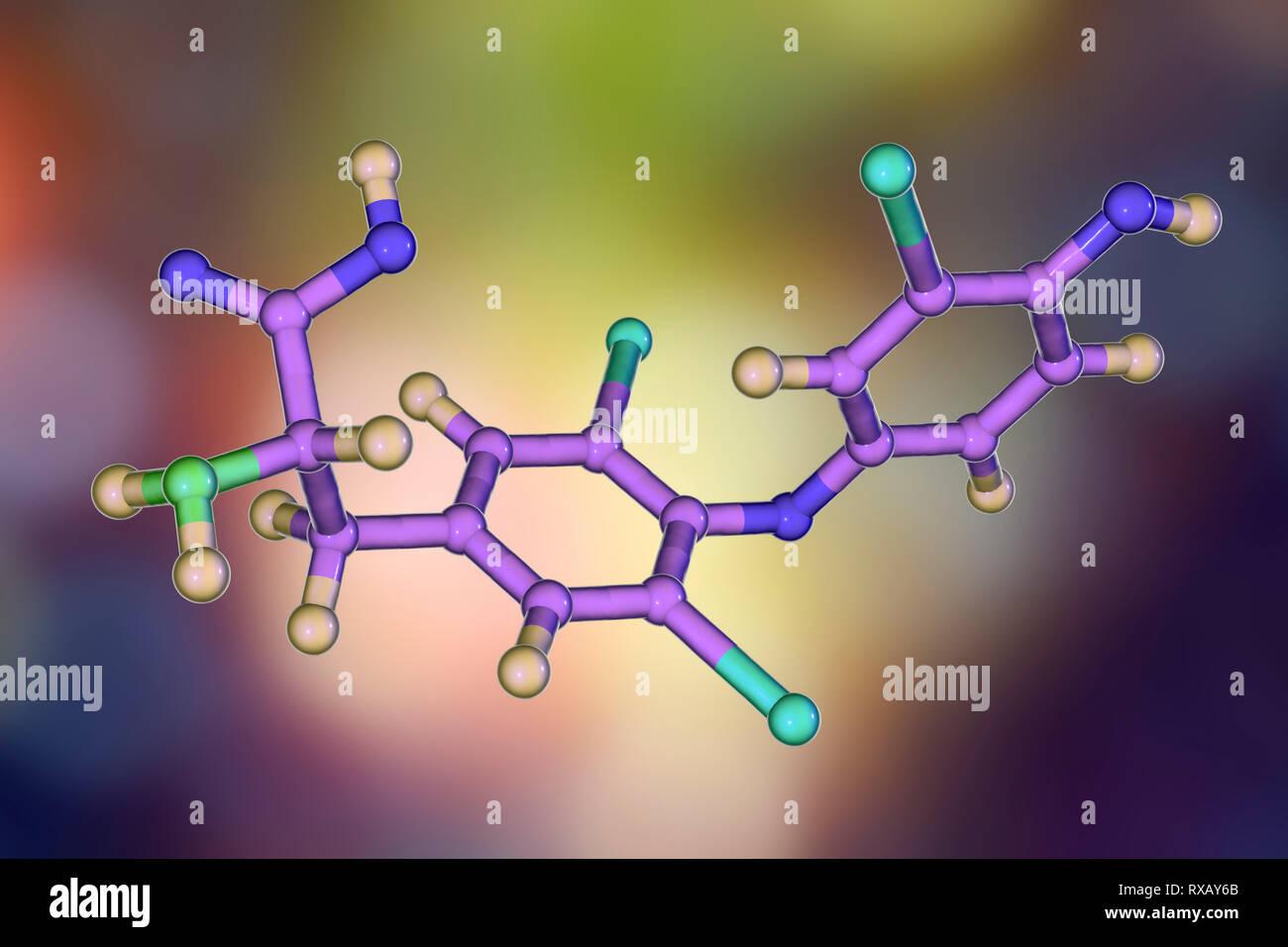 Triiodothyronine hormone, molecular model Stock Photo