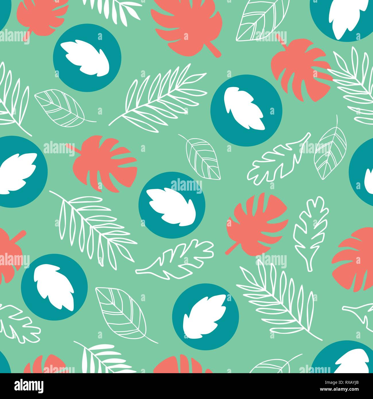 Exotic leaves on a green background. Tropical pattern with banana leaves. - Stock Vector