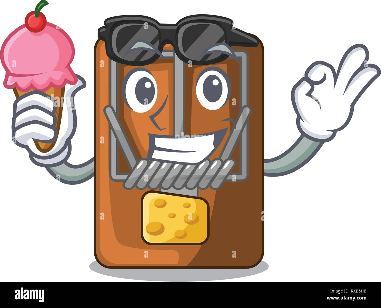 With ice cream mousetrap in the shape mascot wood Stock Vector