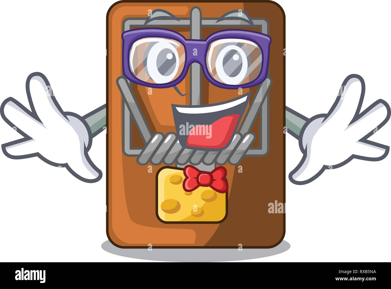 Geek mousetrap in the shape mascot wood Stock Vector