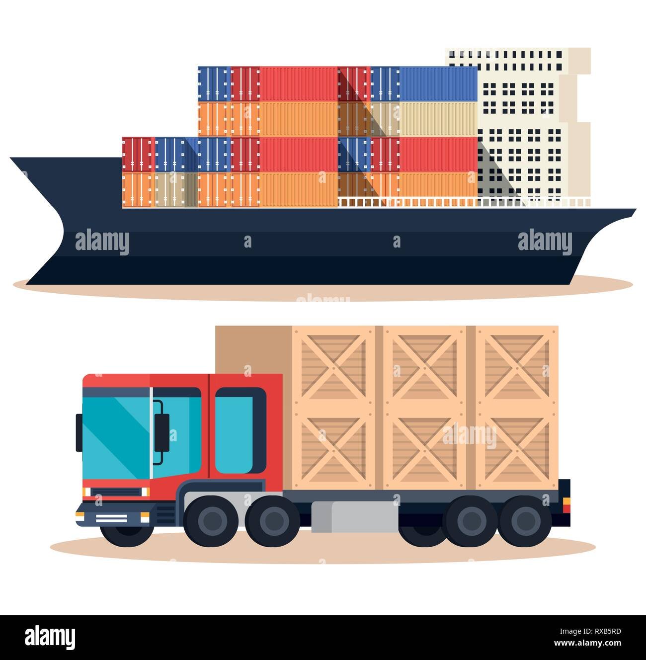 ship with containers and truck - Stock Vector
