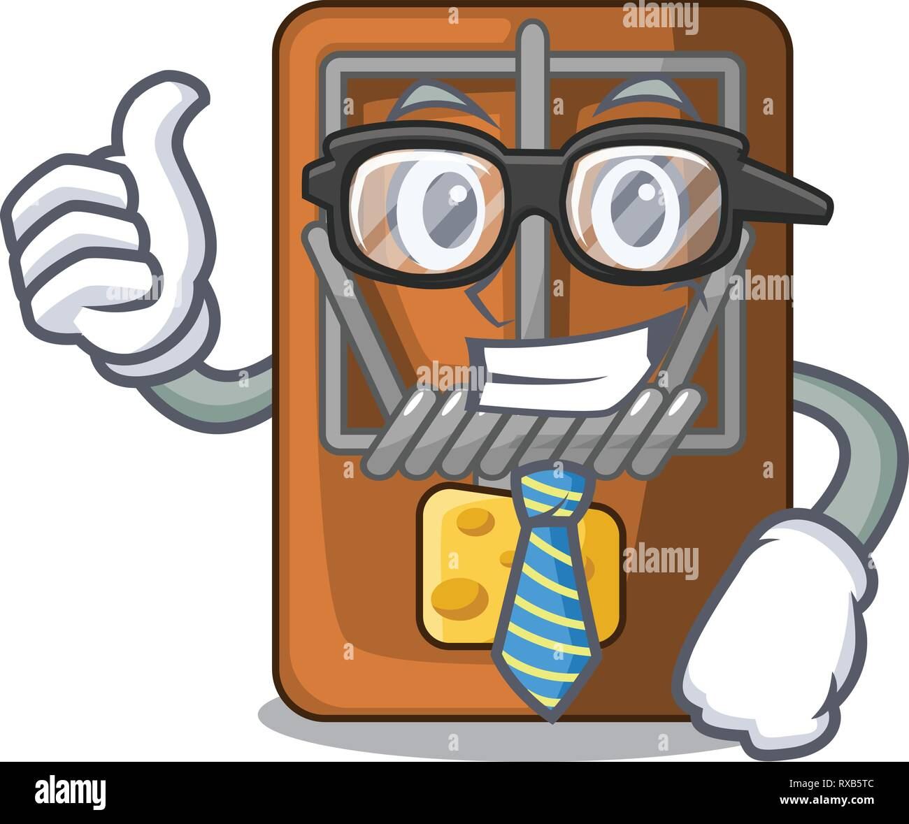 Businessman mousetrap in the shape mascot wood Stock Vector
