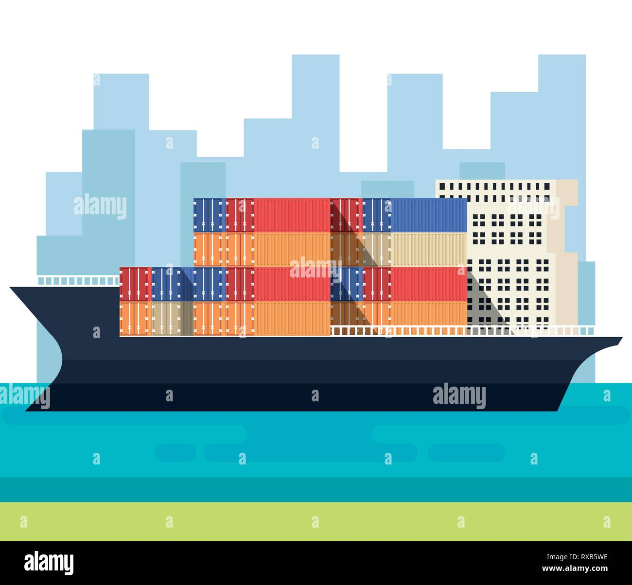 ship with containers delivery service - Stock Vector