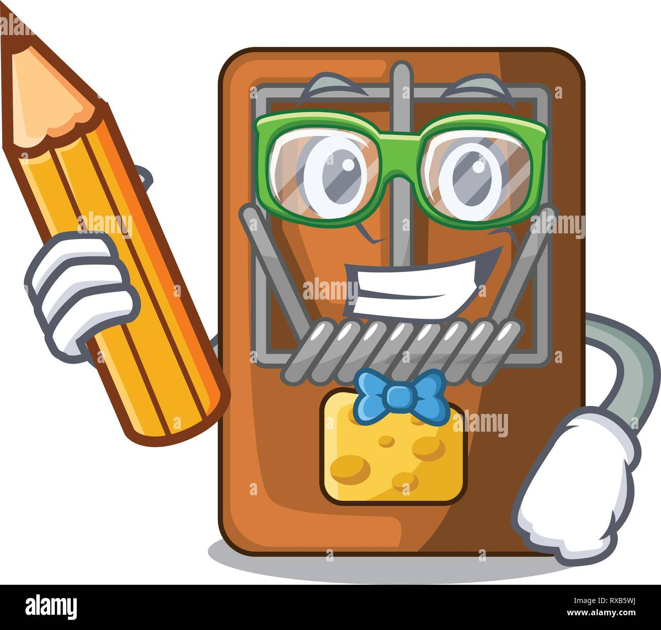 Student mousetrap in the shape mascot wood Stock Vector